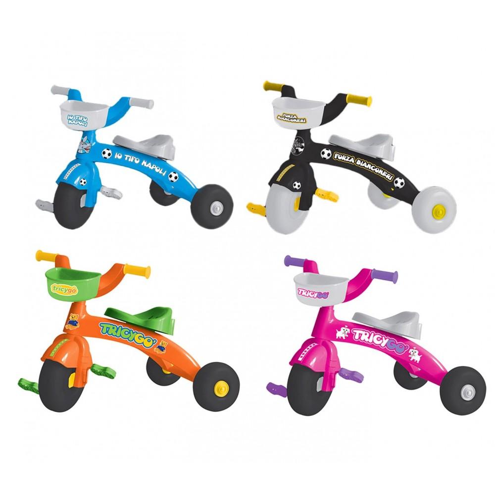 Triciclo TRICYGO primipassi GV con pedali 3 ruote in 4 varianti di colore