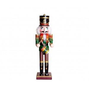 Soldato TAMBURO 831010 schiaccianoci in legno 30 cm dipinto a mano arredamento