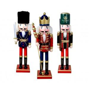 831034 Soldati schiaccianoci in legno dipinto a mano da arredamento 38cm