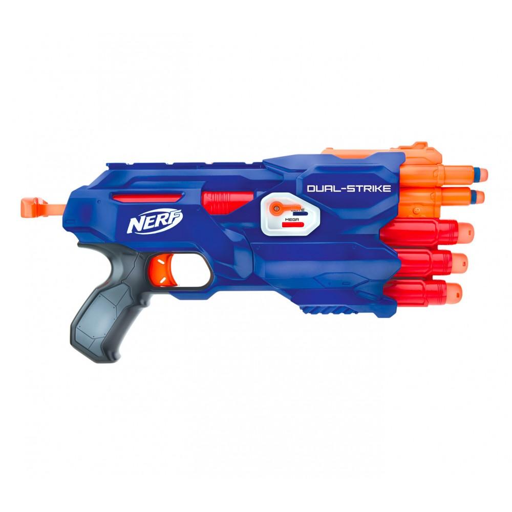 NERF GUN Dual Strike 3x 3x 945459 con selettore per dardi grandi e piccoli HASBR