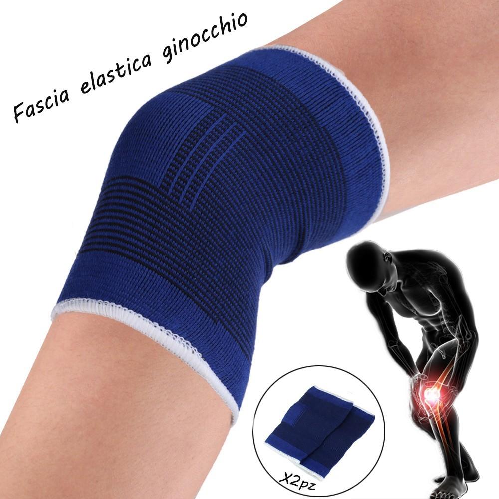 Coppia di 2 fasce elastiche per GINOCCHIO unisex supporto tutore sport