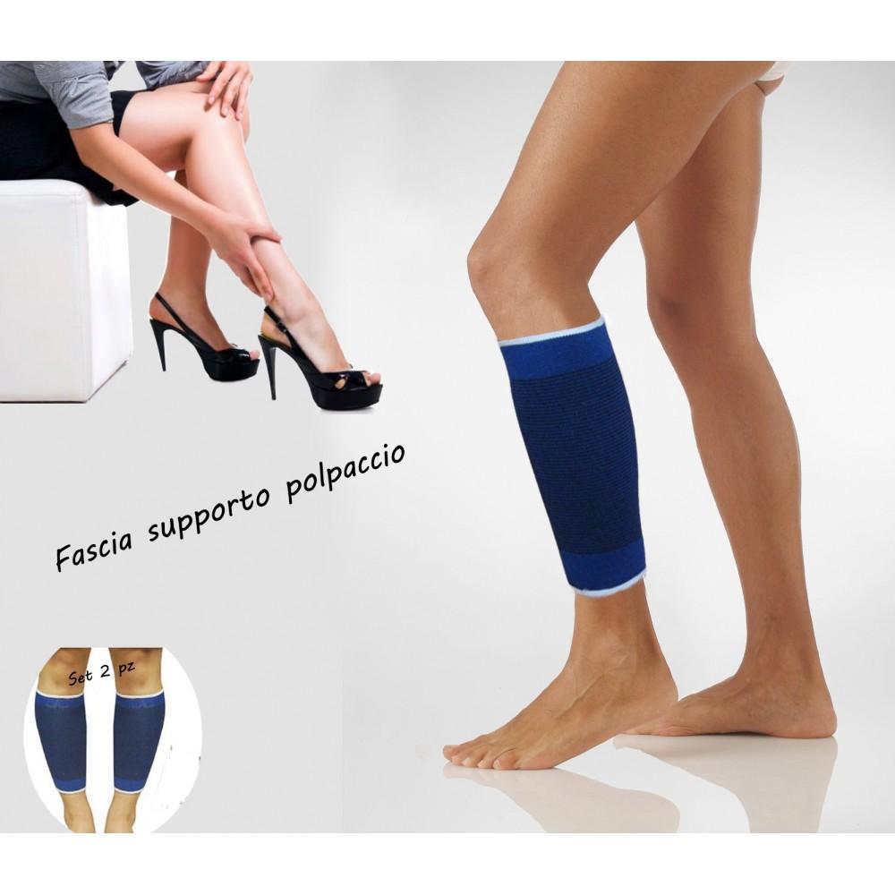 Coppia di 2 fasce elastiche per POLPACCIO unisex supporto tutore gamba sport