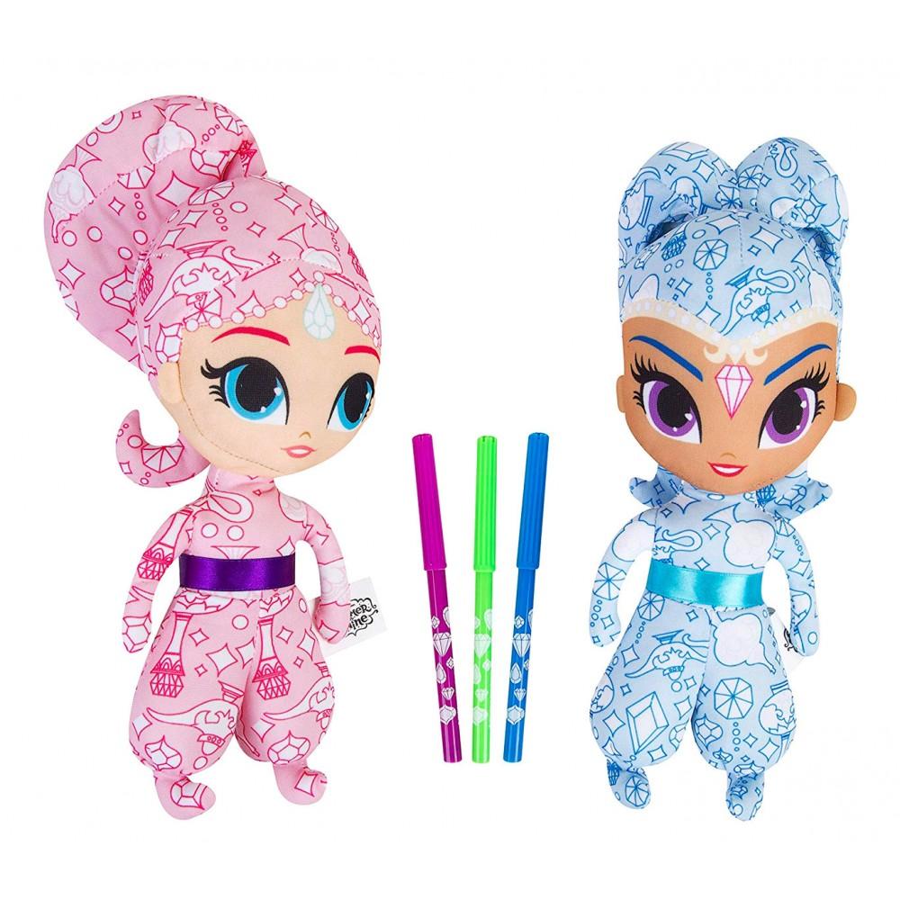 Shimmer & Shine 373804 bambole Deluxe da colorare con pennarelli inclusi