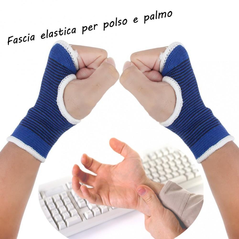 Coppia di 2 fasce elastiche per POLSO e palmo supporto dolori tendinite e sport
