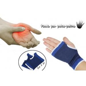 Coppia di 2 fasce elastiche per polso e palmo mano supporto per dolori tendinite e sport mezzi guanti