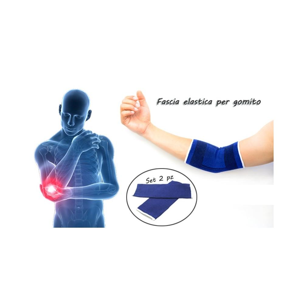 Coppia 2 fasce elastiche GOMITO gomitiera sollievo infiammazioni ideale sport