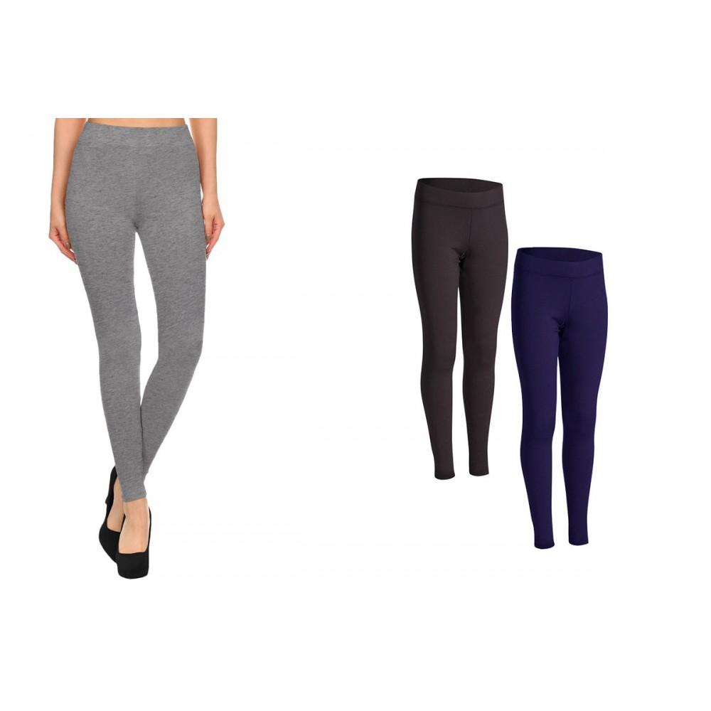 BM03 Leggings da donna in cotone elasticizzato colori alla moda grigio nero blu
