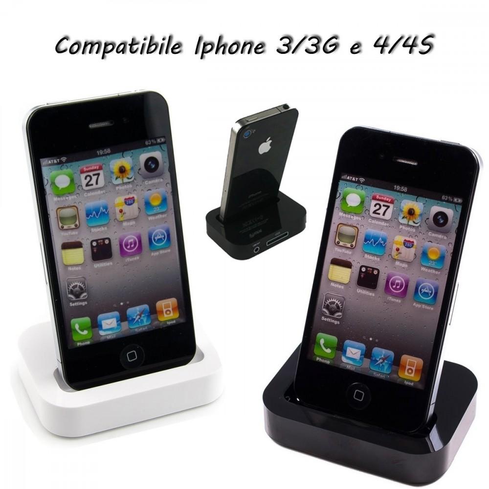Base ricarica caricabatteria dati compatibile iphone 3/3G e 4/4S station 30 pin