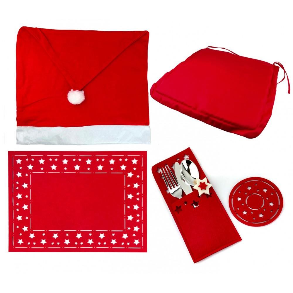 Pack 4 pz addobbo natalizio tavolo di 7 pz 637388 in feltro NATALUNA 4 posti