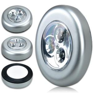 Set 3  lampade push adesive luce portatile emegenza 3 led  per armadi cassetti auto