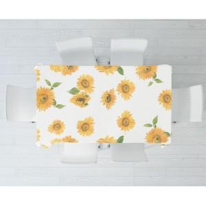 d-c-home Girasoli Bianco 385-7160 Tovaglia in pvc di alta qualità 140x140 cm