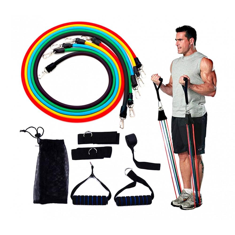 Set allenamento e riabilitazione fasce elastiche e cinghie 5 livelli resistenza