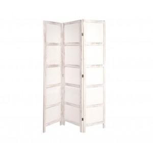 Separè paravento 448953 mod. Pau 3 pannelli legno bianco antichizzato 170x120 cm