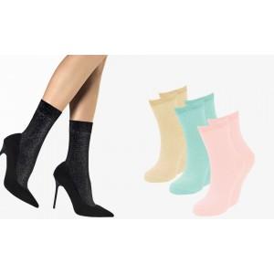 Pack da 12 paia calzini da donna 214679 mod. SPARKLY taglia unica trama glitter