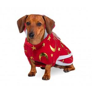 Vestito natalizio con stampa stelle e luna per animali di piccola taglia
