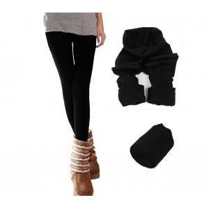 Set 5 leggings donna effetto termico interno felpato elasticizzato vari colori
