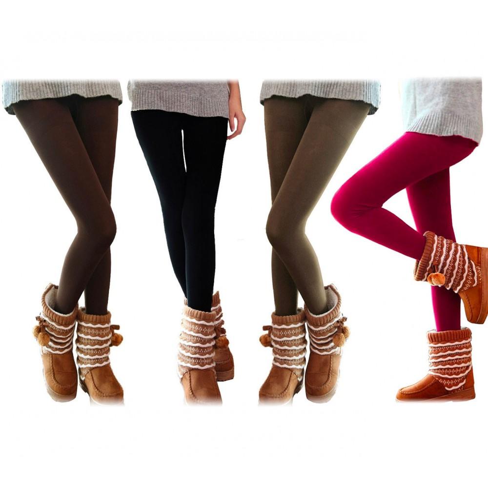 Set 5 leggings donna effetto termico felpato ass. UHRA collant taglia unica