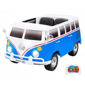 Mini bus elettrico BLU per bimbi VOLKSWAGEN T2 Hippy 12V biposto radiocomando