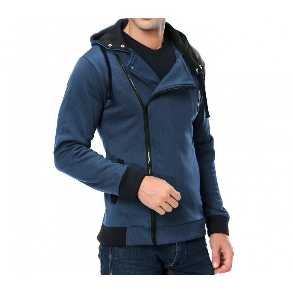 nuovo concetto 5addd 3231a Felpa uomo mod. Revenge con zip laterale e cappuccio casual ...