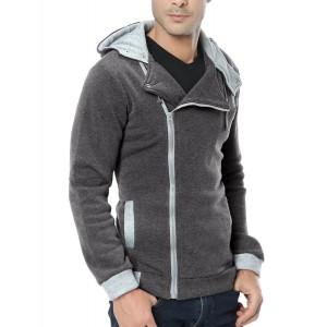 Felpa uomo mod. Revenge con zip laterale e cappuccio casual slim fit  sweatshirt