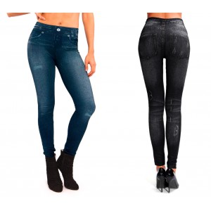 Leggings DHARMA effetto jeans denim 1112 slim fit modellante felpato JEGGINGS