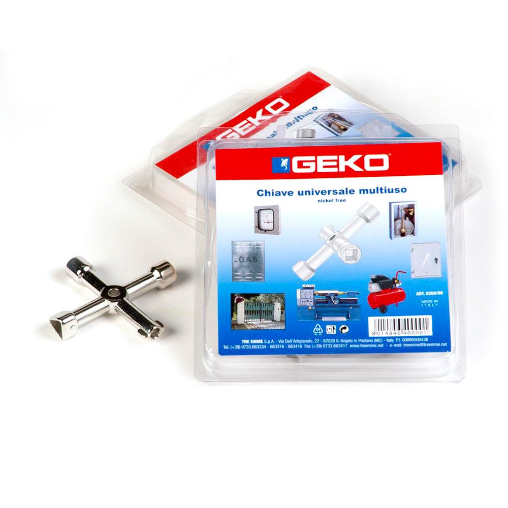 Geko 6200 Chiave a Croce universale 4 in 1 per cabine gas acqua luce cancelli