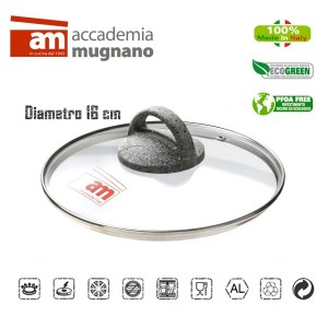 Image of Coperchio in vetro 16 cm Accademia Mugnano Linea CUORE DI PIETRA Mineral Stone 8435524508404