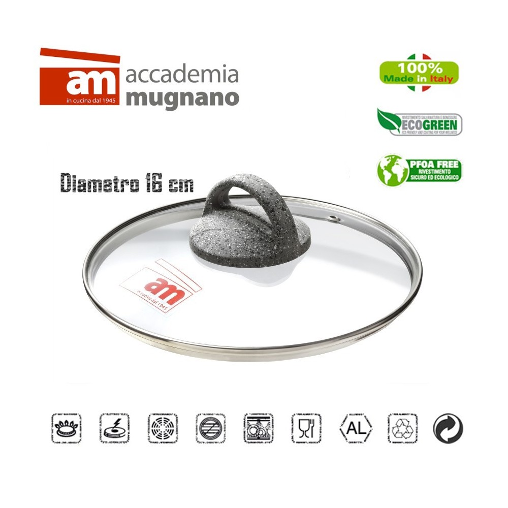 Coperchio in vetro 16 cm Accademia Mugnano Linea CUORE DI PIETRA Mineral Stone