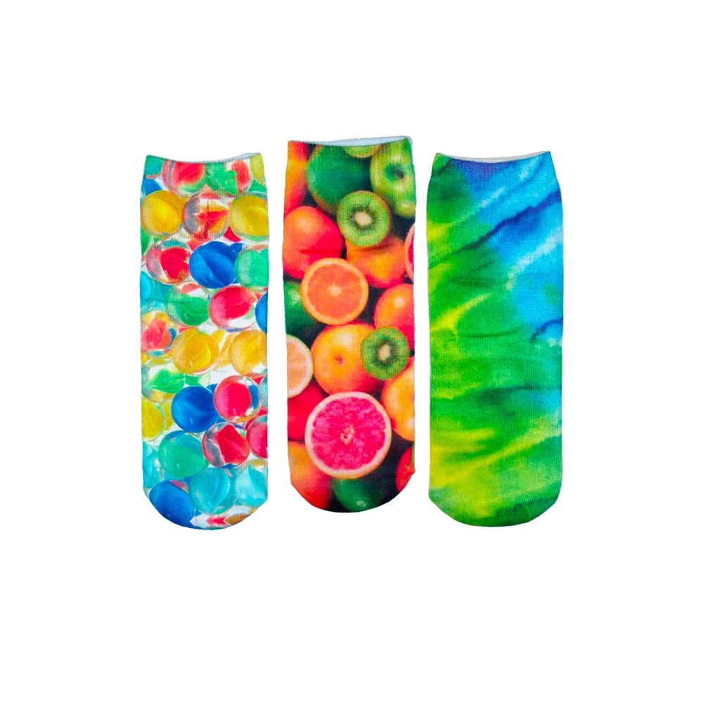 Pack 3 paia calzini FUNNY COLORS calze donna stampe colorate 3D