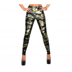 9050 Set due leggings a stampa mimetica lucido nero e verde militare