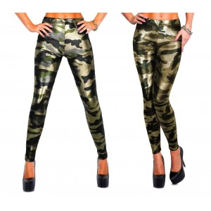 XM9050 Set due leggings a stampa mimetica lucido verde militare L/XL