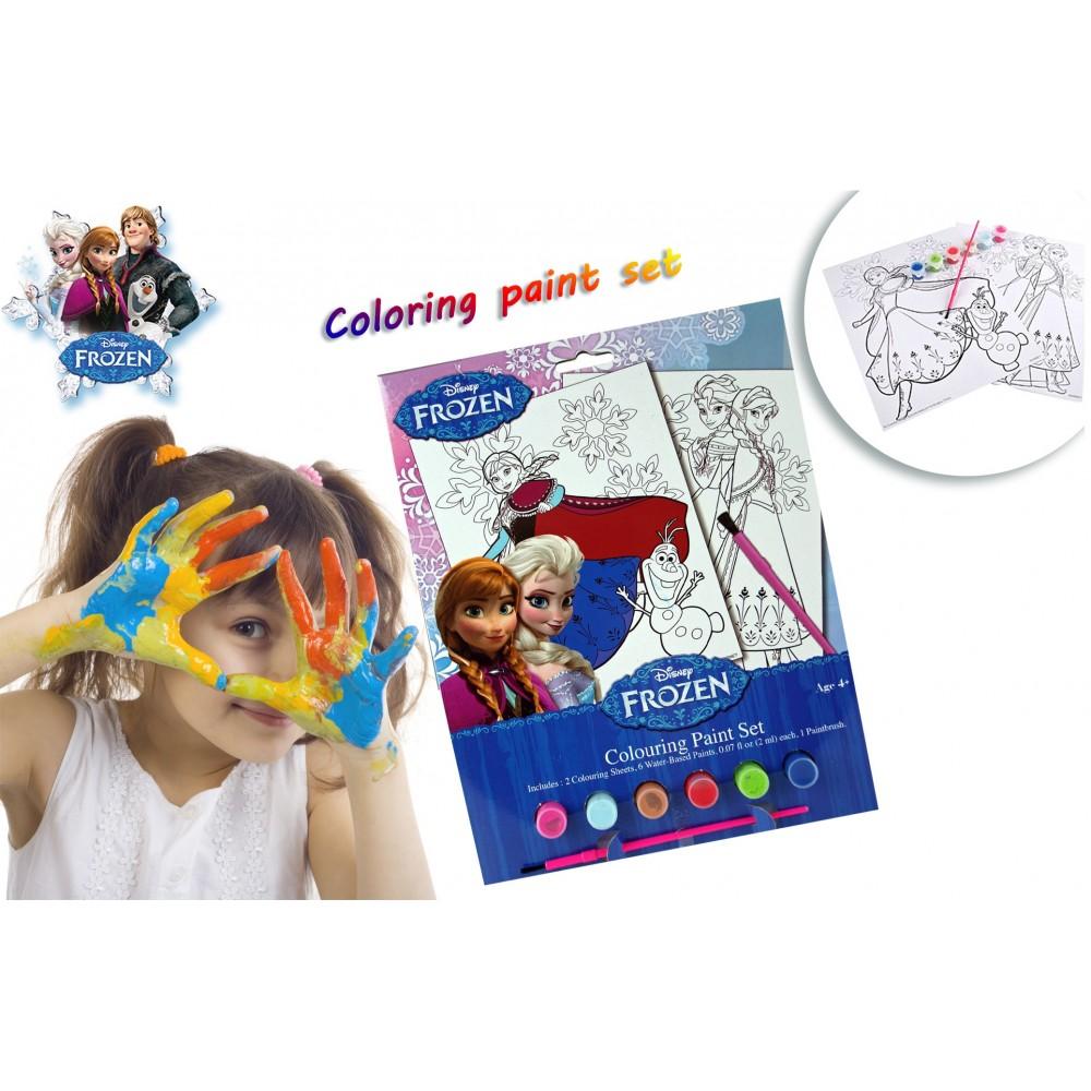 Set da colorare Frozen con pennello acquerelli e stampe del regno del ghiaccio COLORING PAINT SET
