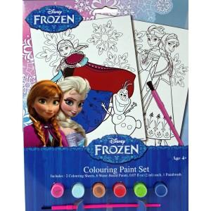 Set da colorare Frozen con pennello acquerelli e stampe da colorare del fantastico regno del ghiaccio