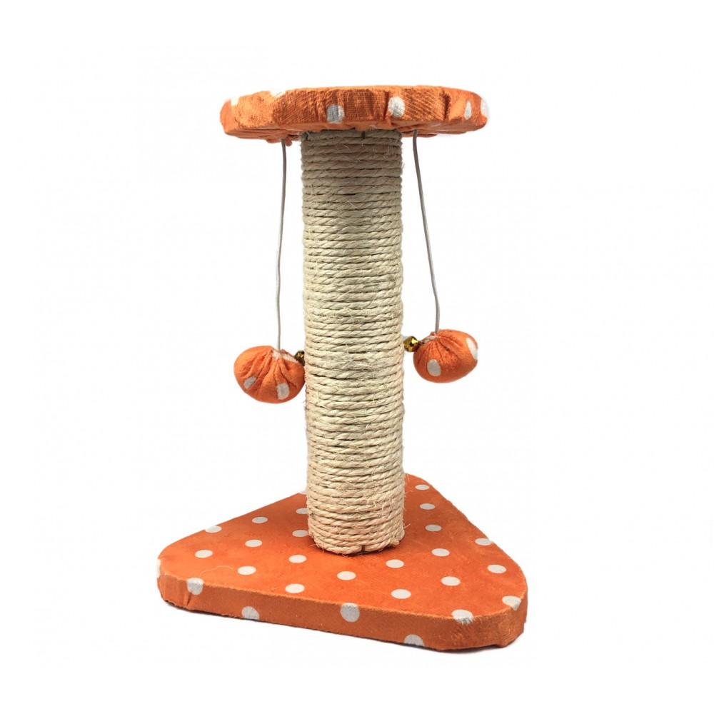 Tiragraffi NOBLEZA 000135 Pois arancio in Sisal 22x20x28 cm palline e sonagli