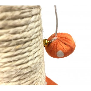 000135 Tiragraffi Nobleza a Pois colonna in Sisal palline e sonagli 22x20x28cm
