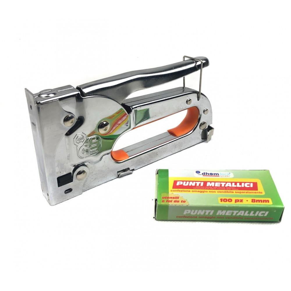 Graffettatrice spillatrice da 8 mm 071249 con blocco 100 punti metallici inclusi