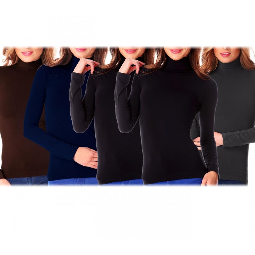 Pack 5 maglie da donna VKA22 a collo alto termiche ass. UMA con interno felpato