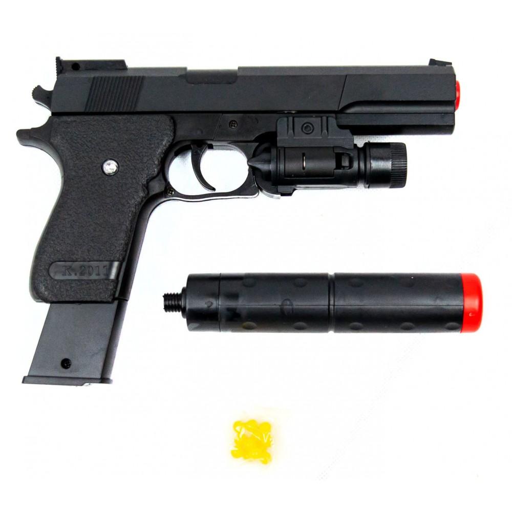 Pistola giocattolo K2011B per bambini 285633 con pallini e silenziatore
