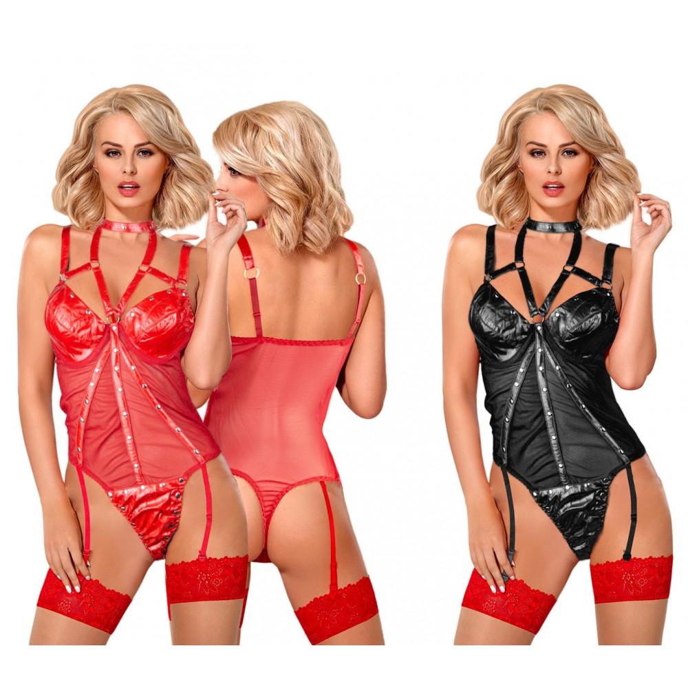 Completino lingerie sexy 25234 mod. Zelda corsetto similpelle e borchie 2 colori