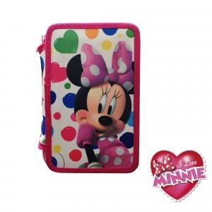Zaino scuola Minnie estensibile coordinato con portapastelli 3 scomparti schienale rigido bretelle regolabili Disney