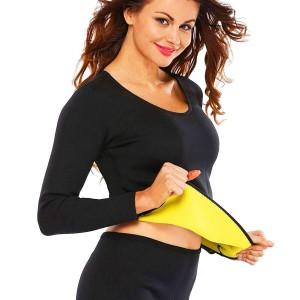 T Shirt sauna snellente addome in neoprene con maniche da donna dalla S alla XXL