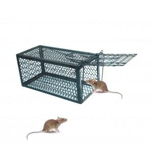 Trappola in metallo gabbia per topi con scatto a molla automatico 24x11x11 cm