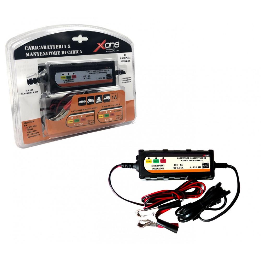 XONE Caricabatterie e mantenitore di carica automatico EF035 6v e 12v 4-120 AH