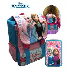 Zaino scuola Principesse Frozen estensibile coordinato con portapastelli 3 scomparti schienale rigido bretelle regolabili Disney