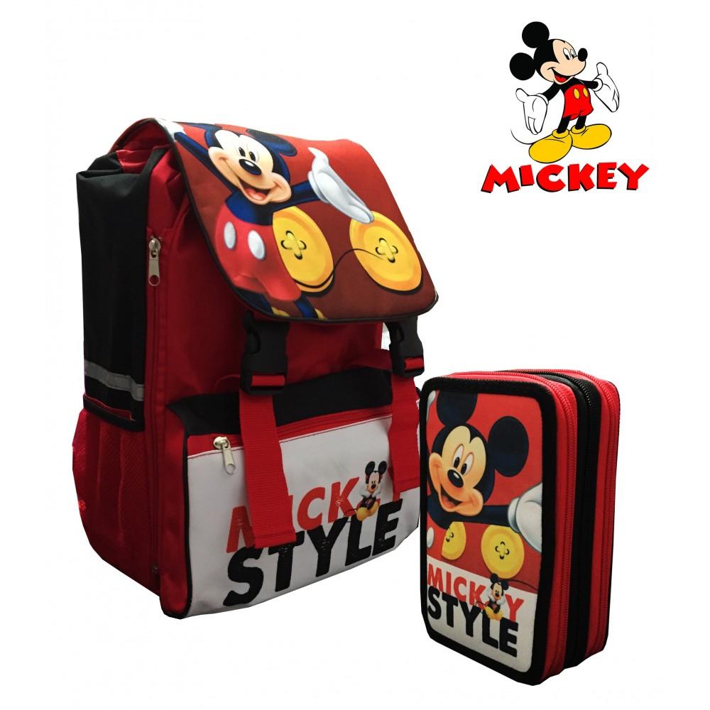 Zaino scuola Mikey Mouse estensibile coordinato con portapastelli 3 scomparti schienale rigido bretelle regolabili Disney