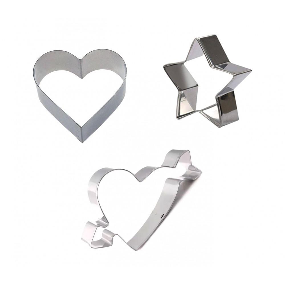 Set di 3 coppapasta a forma di cuore GRAN CHEF in acciaio 702720 altezza 2 cm