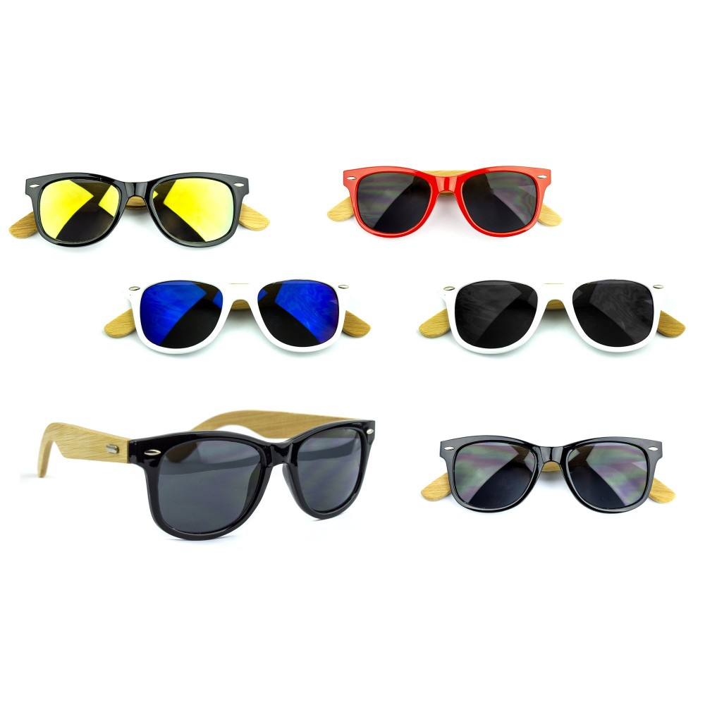 kit 5x Occhiali da sole MWS AHEAD Bamboo unisex Sunglasses lente scura colorata