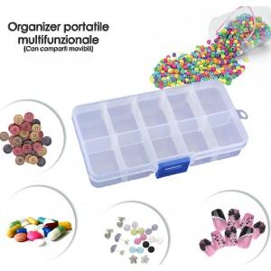 Mini box organizer multifunzionale fino a dieci comparti trasparente e in plastica