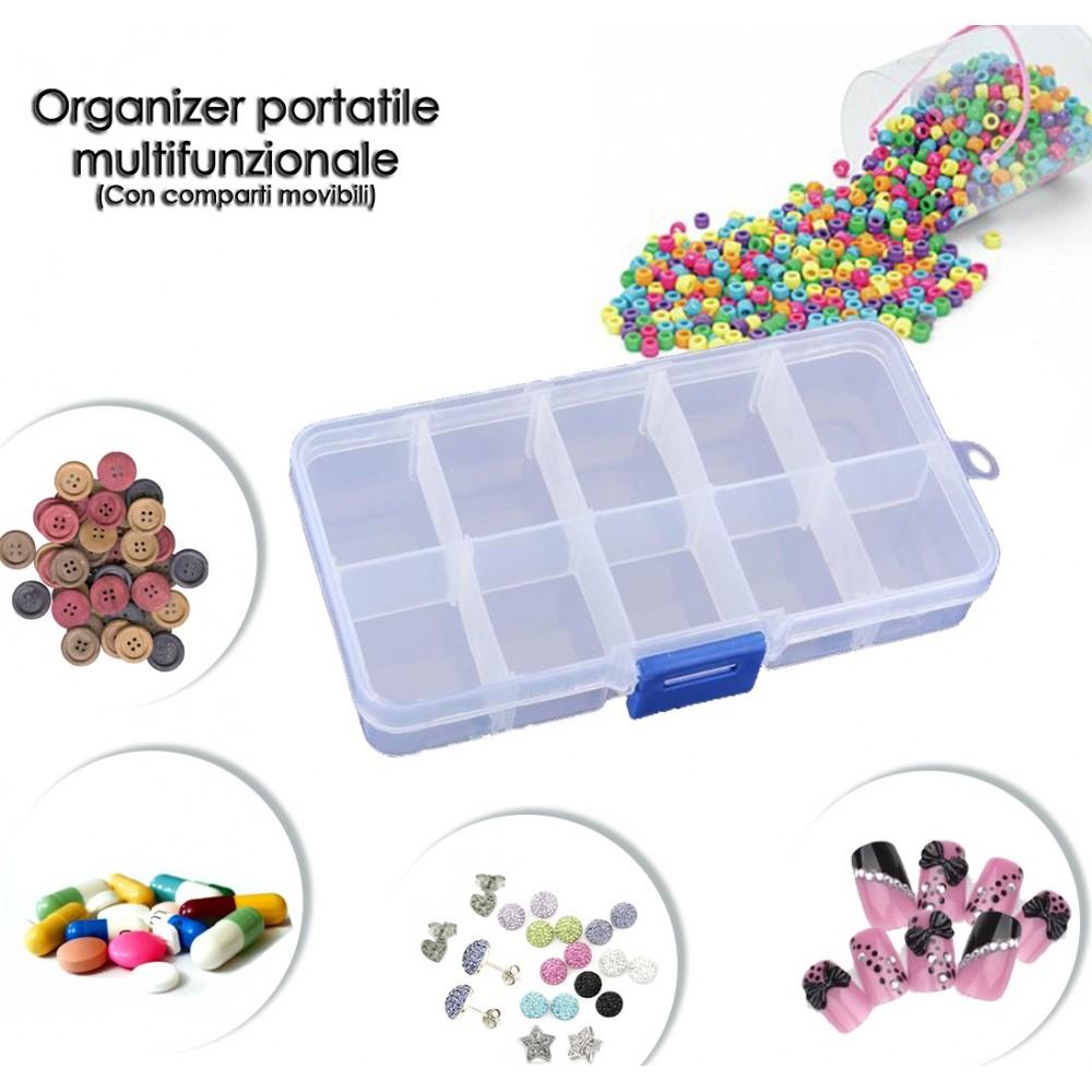 Mini box organizer multifunzionale trasparente in plastica  13 x 6,5 x 2,5 cm