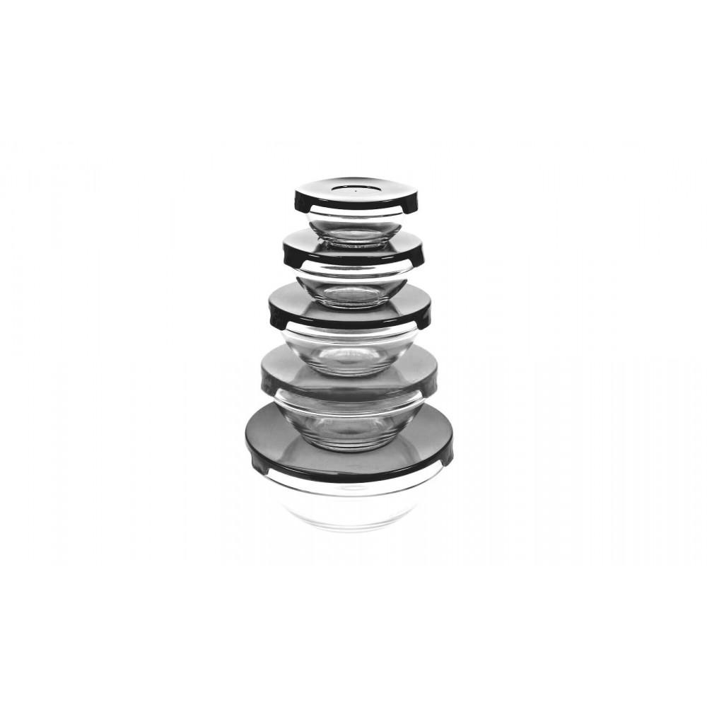 Set 5 contenitori in vetro impilabili ciotole cooking bowl per microonde NERO